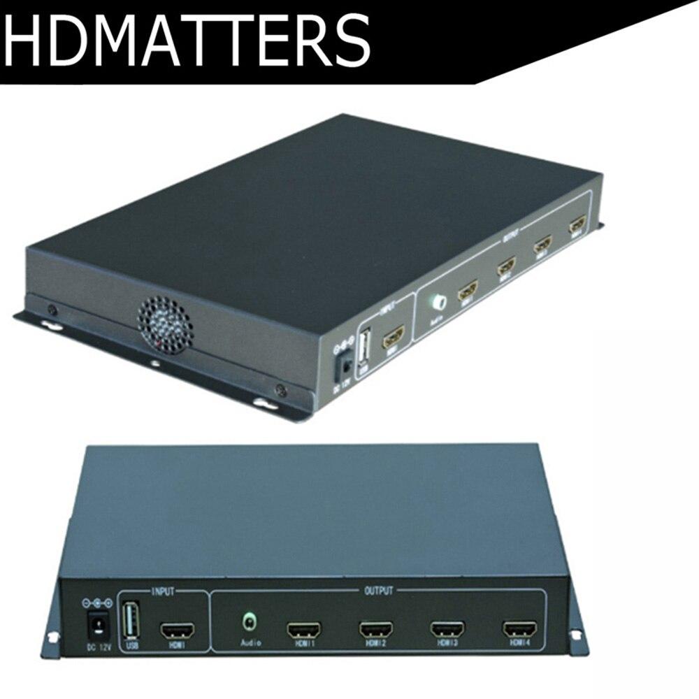 Alta qualidade HDMI controlador de Vídeo wall 2X2 Processador splitter HDMI & USB media entradas com controle remoto