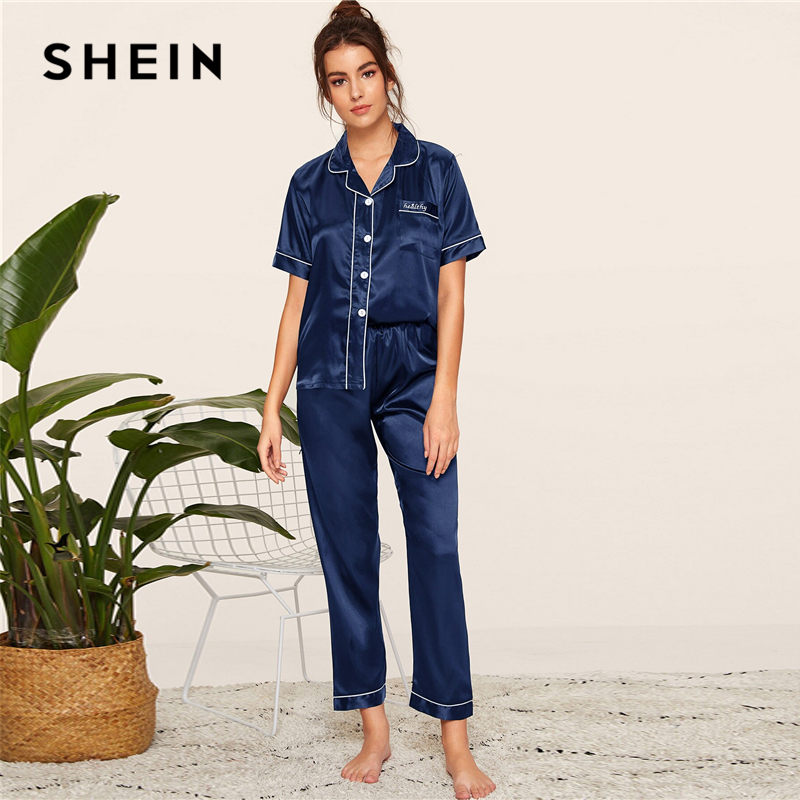Image 5 - SHEIN Navy Letter Embroidered Satin Pajama Set Short Sleeve Long Pants Pajamas for Women Sleepwear Casual Ladies Pajama Sets-in Pajama Sets from Underwear & Sleepwears