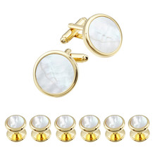 HAWSON Mother of Pearl Cufflinks Gold Color and 6 Pieces Tuxedo Studs Sets Luxury Gift for Party