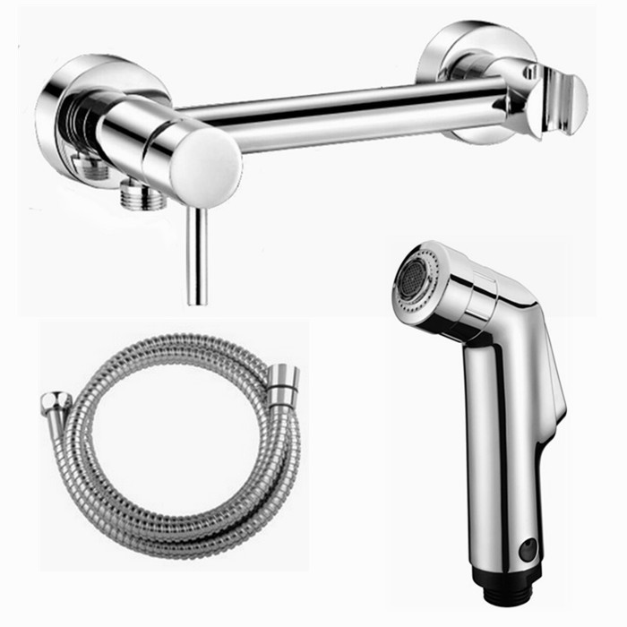 wall mouted Toilet 2 Function Bidet Spray Shattaf Shower Kit Sprayer Jet with Hot and Cold Water Mixer Valve Bar 02-149 factory direct supply of stars hotel concealed embedded wall type cold and hot water shower function single copper body