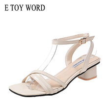 E TOY WORD Sandals Women 2019 New Fashion Summer Wild Open Toe thick Heel Sandals Buckle with High Heels Women Shoes 2018 summer new sandals female hollow word buckle high heeled shoes high heels wild with a single shoes women s shoes f072