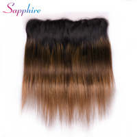 Sapphire Hair Brazilian Straight Lace Frontal Free Part Ear to Ear Human Hair Lace Closure 13x4 Natural Remy Hair Ombre Color