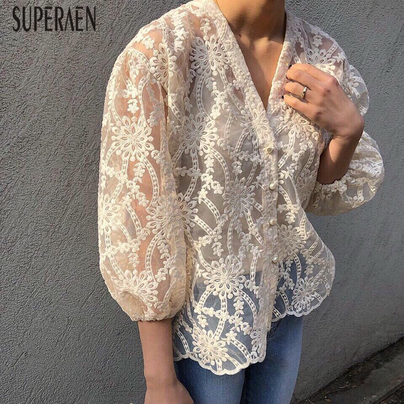 SuperAen V-neck Women   Shirt   Wild Fashion Casual Lace Embroidered   Blouses   and Tops Female Summer and Spring New 2019   Shirts