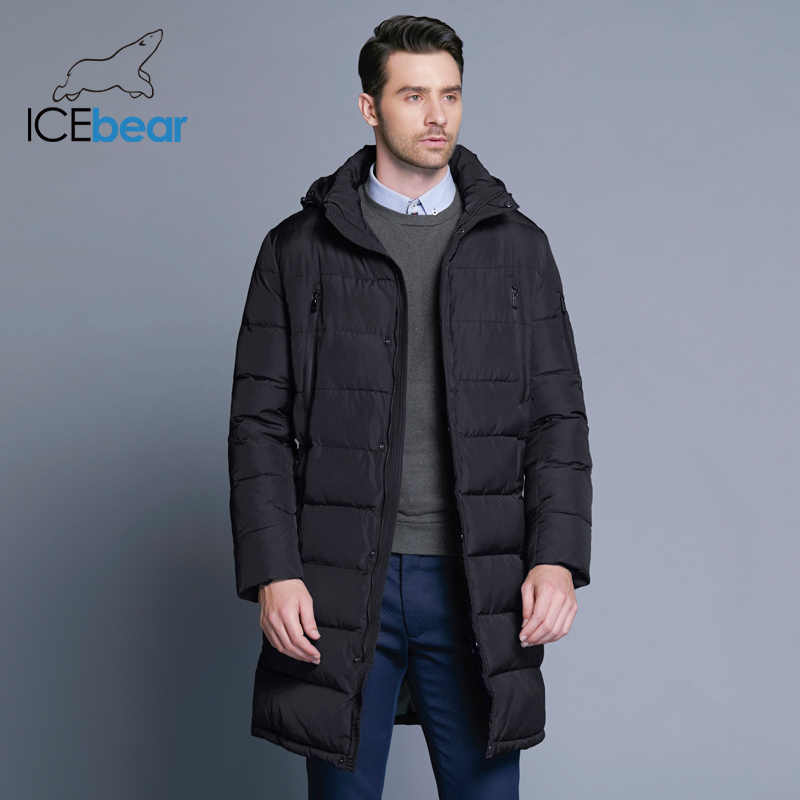 ICEbear 2019 冬のメンズロングコートの絶妙なアームポケット男性固体パーカー暖かい袖口のデザイン通気性生地のジャケット B17M298D