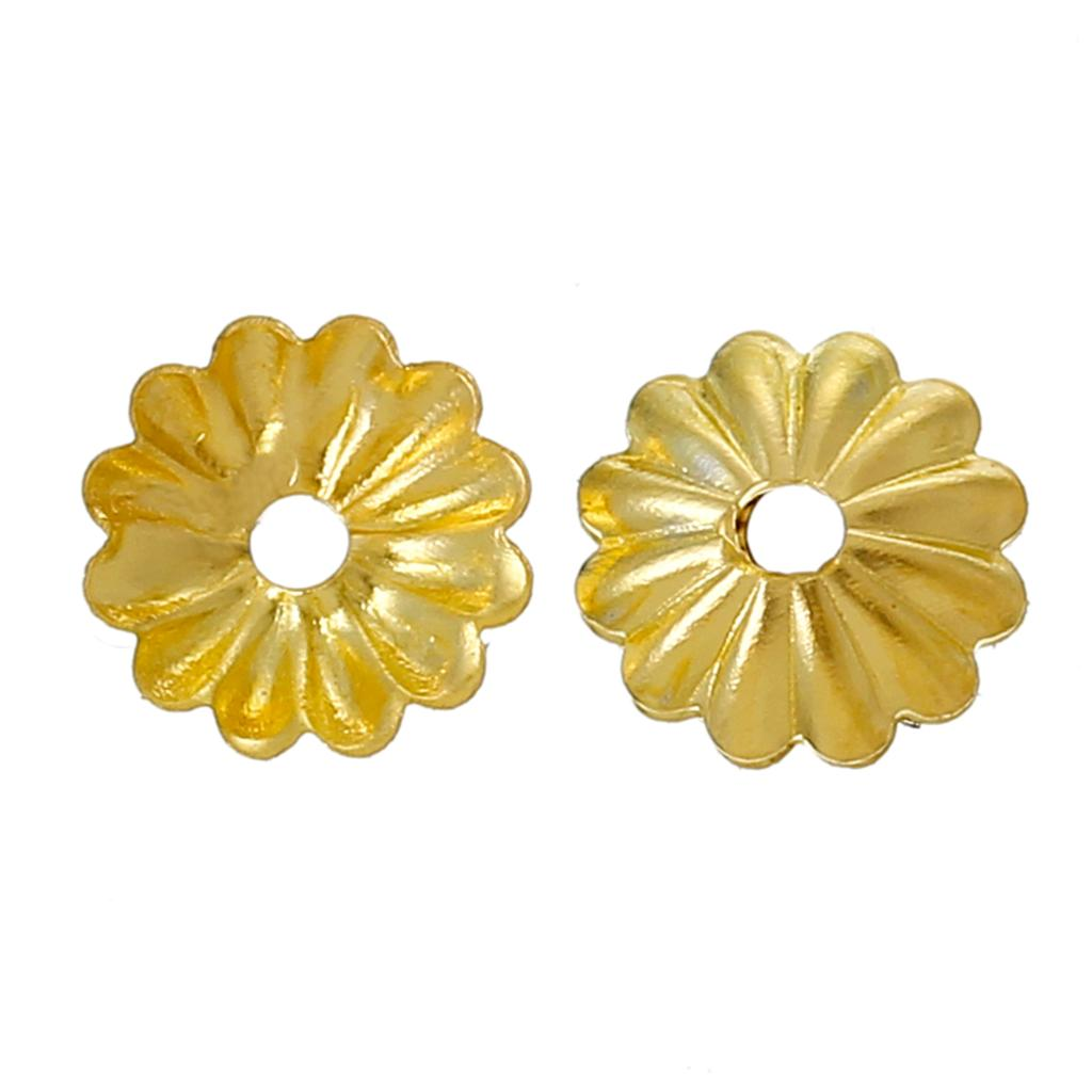 Copper Beads Caps Flower Gold Color (Fits 6mm-8mm Beads) 6mm( 2/8