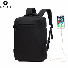 Ozuko Multi-functional Men Backpack Waterproof USB Charge Computer Backpacks 15Inch Laptop Bag Creative Student School Bags 2018
