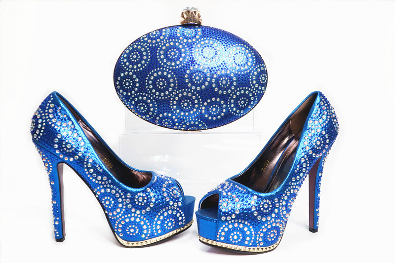 New Design Italian Shoes With Matching Bags Set For Party African Women Shoes And Bags Set High Quality Crystal High Heels  new fashion italian shoes with matching bags for party high quality african shoes and bags set with stones pumps shoes 1308 l60