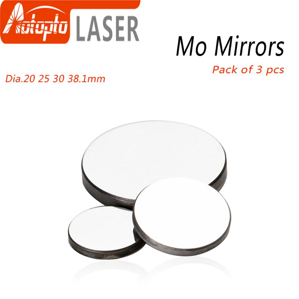 High Quality Mo Mirror Dia. 15 19.05 20 25 30 38.1mm THK 3mm For CO2 Laser Engraving Cutting Machine Pack Of 1Pcs/3 Pcs
