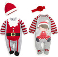 Bebê roupas por muito tempo sleeved do Papai Noel presente de Natal faixa de cabelo chapéu Do Bebê dos desenhos animados macacão footies bodysuit recém-nascidos