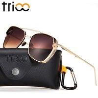 TRIOO Cool Steampunk Metal Sunglasses Men Luxury Black Lunettes UV400 Protection Sun Glasses For Men Gold
