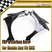 Car styling For Honda Jazz Fit GK5 14 17 Carbon Fiber Js Style Front Vented Fender Fibre Mudguard Accessories