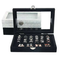 1pcs Jewelry Display Casket Black Gray Jewelry Organizer Earrings Ring Case For Jewelry Gift Packaging Case