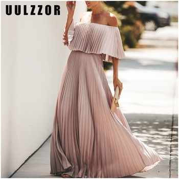 UULZZOR Off shoulder dresses pleated long dress Women party dress maxi ruffle solid pink autumn dresses Elegant 2019 Vestidos