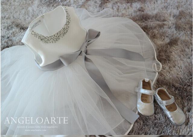 Hot New White Lace Tulle Vestido Da Menina Flor Princesa Pérola vestido de Baile Festa de Casamento Meninas Vestidos para 2-7A
