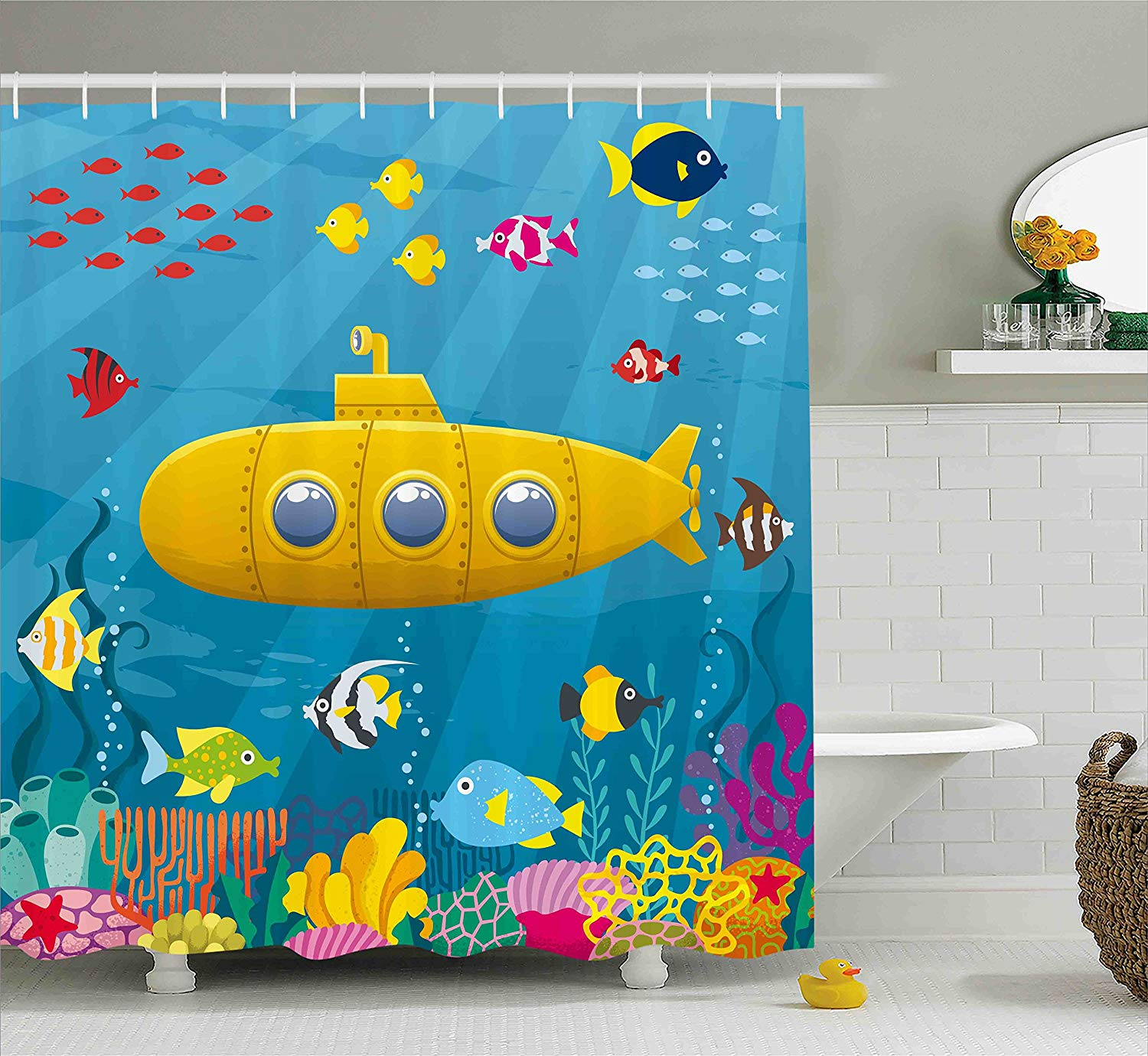 Yellow Submarine Shower Curtain Set, Coral Reef With