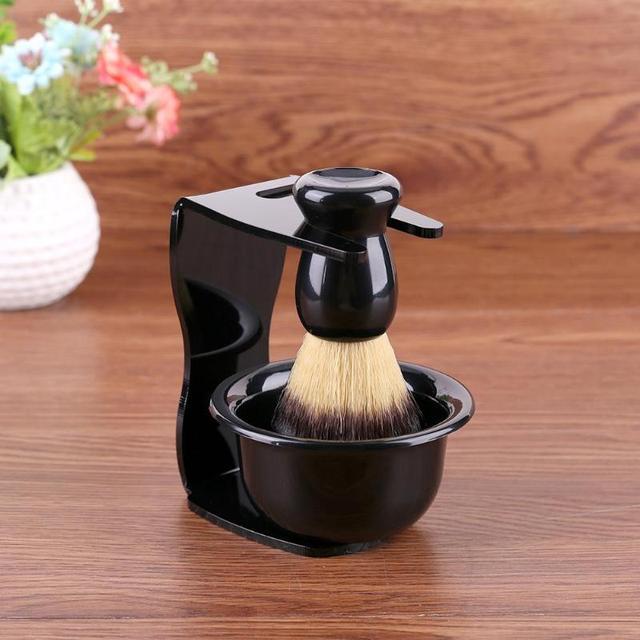 3 w 1 mydło do golenia miska + pędzel do golenia + stojak do golenia włosia golenie włosów pędzel do golenia mężczyzn broda urządzenia do oczyszczania nowy Top prezent Drop ship