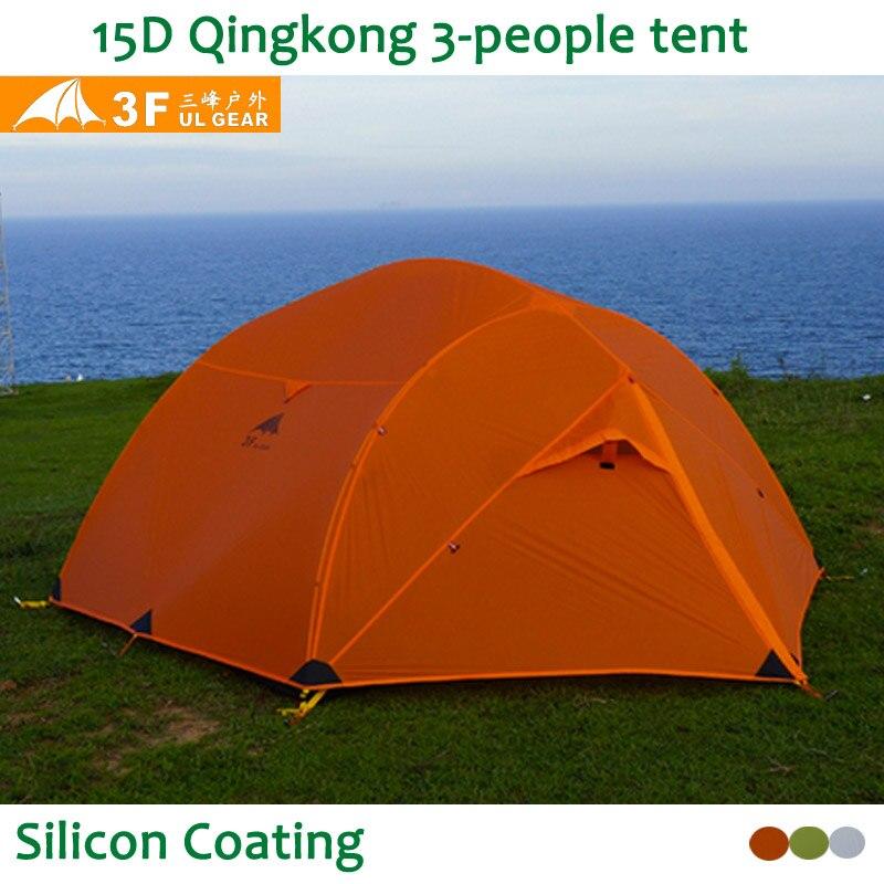 3F UL Vitesse Qinkong 15D silicon Revêtement 3-personne 3-Saisons Camping Tente avec Correspondant Tapis De Sol