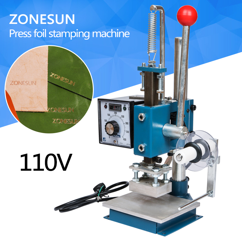 ZONESUN 110V MANUAL HOT PRESS FOIL STAMPING MACHINE STAMP MACHINE FOR PVC WOOD PAPER LEATHER HOT FOIL STAMPER PRINTEING MACHINE a4 size manual flat paper press machine for photo books invoices checks booklets nipping machine
