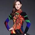 2015 inverno além de veludo térmica camisa básica fino de impressão rendas plus size clothing ns117