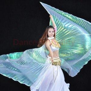 Image 3 - Groothandel 360 Graden Buikdans Vleugel Voor Vrouwen Buikdans Props Goud En Silve Doek Buikdans Vleugel Meisjes Dans accessoires