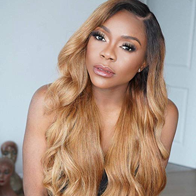 Image 4 - 1B/27 Lace Front Human Hair Wigs With Baby Hair Wavy Pre Plucked Ombre Color Brazilian Blonde Hair Wigs For Women Bleach Knots-in Human Hair Lace Wigs from Hair Extensions & Wigs