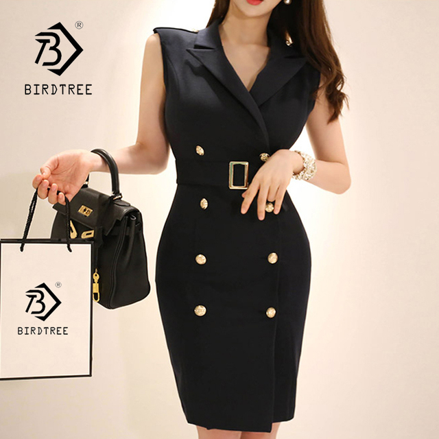 dfeaf713239c2 New Women Solid Notched Double Breasted Sleeveless High Waist Bodycon  Blazer Dress With Belt Elegant Office Lady Jacket D86009F