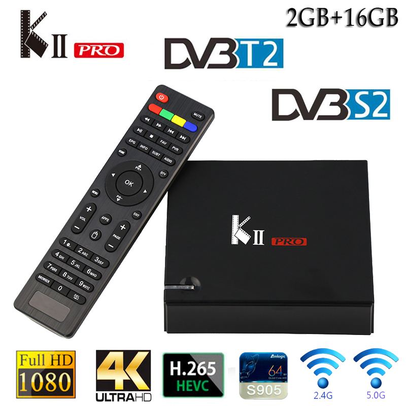 цена на Mecool KII Pro TV BOX Android 5.1 Amlogic S905W tvbox Quad Core DVB-T2 DVB-S2 Media Player 2GB 16GB H.265 WiFi LAN Smart Set-Top