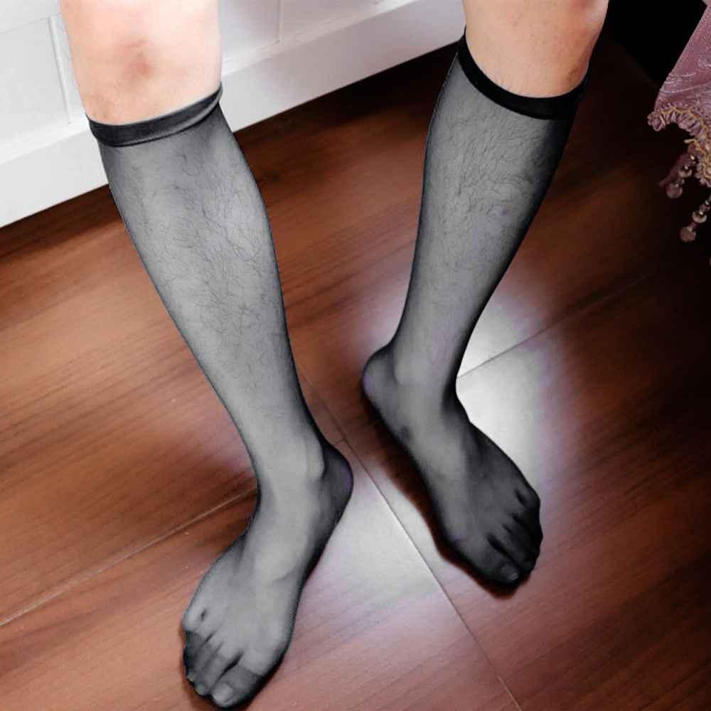 6c993f800ad4a ... Новый 1 пара Для мужчин; пикантные сапоги до колена длинное платье  Нейлоновая Сетка Sheer Носки ...