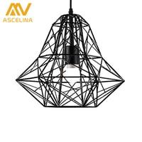 Black White Iron Modern Pendant Light Wrought Iron Cage Droplight Vintage Pendant Lamps Foyer Lamp Loft