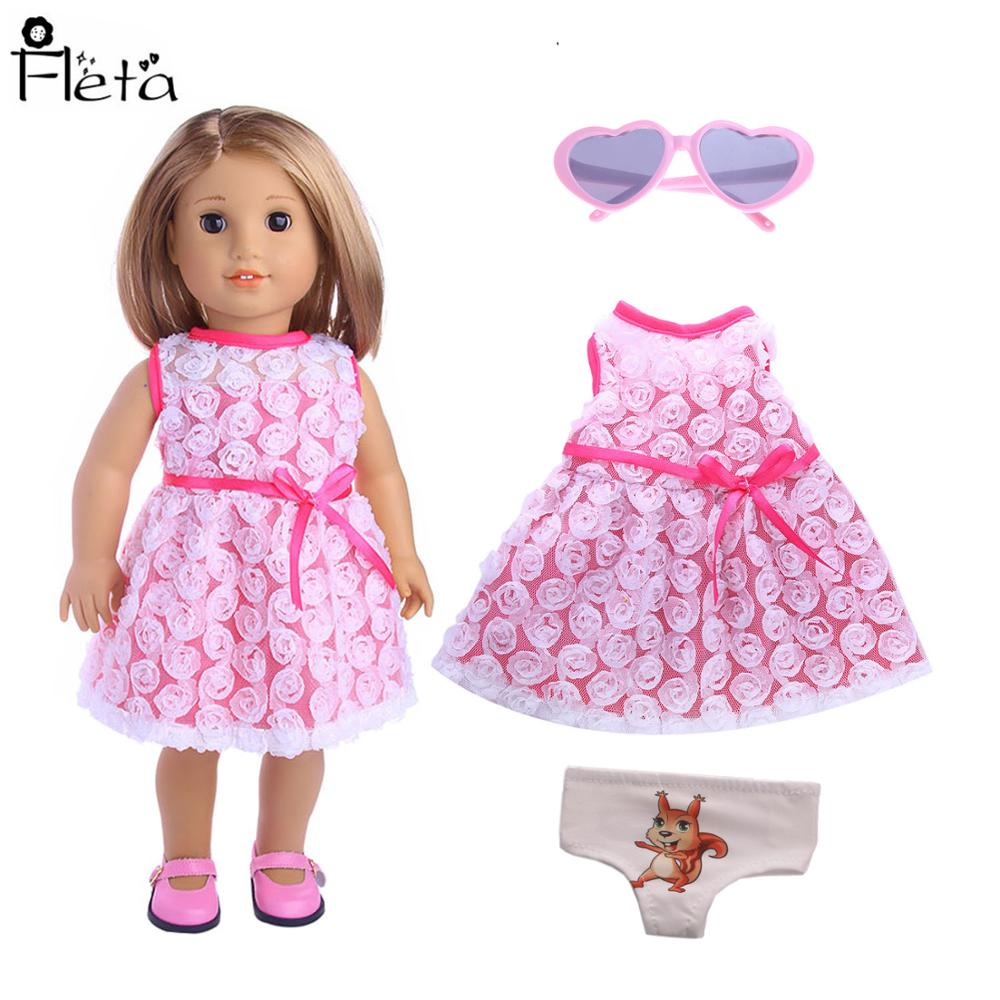 Doll Dance Dress Princess Sparkle Lace  For 18-Inch American Doll & 43 Cm Born Baby Generation Birthday Girl's Toy Gift