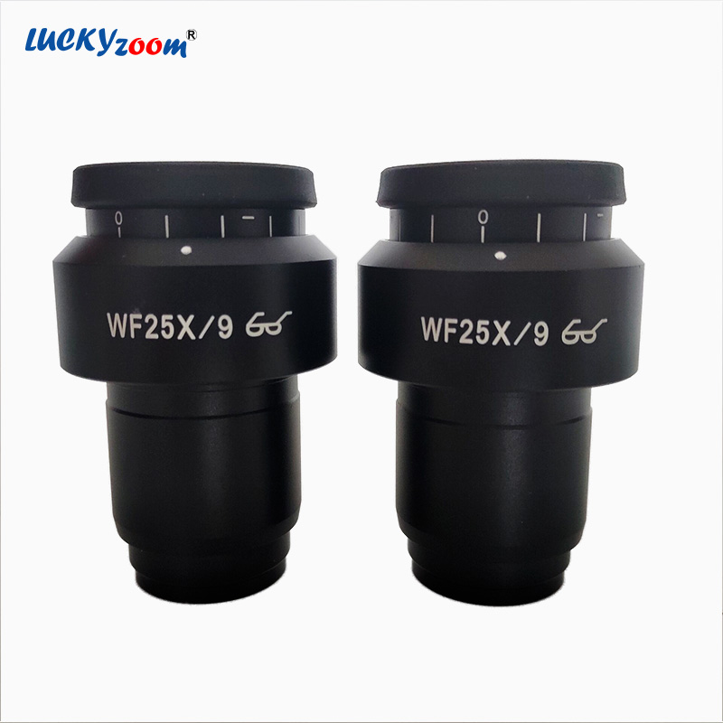 Lucky Zoom 9MM Super Widefield WF25X Microscope Eyepiece Lens For Binocular Trinocular Stereo Microscope Acesories 30MM Thread 0 3x auxiliary objective lens for zoom stereo microscope thread 48mm for binocular trinocular microscope working above 30cm