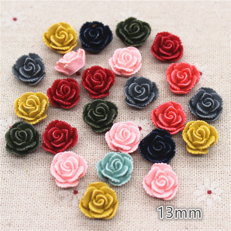 50pcs 13mm Mix Colors Vintage Resin Flower FlatBack Cabochon DIY Jewelry/Phone Craft Decoration