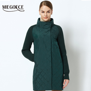 Image 3 - MIEGOFCE 2019 Spring Autumn Women Jacket With a Collar Knitted Sleeve Warm Jacket New Collection of Designer Womens Parka Coat