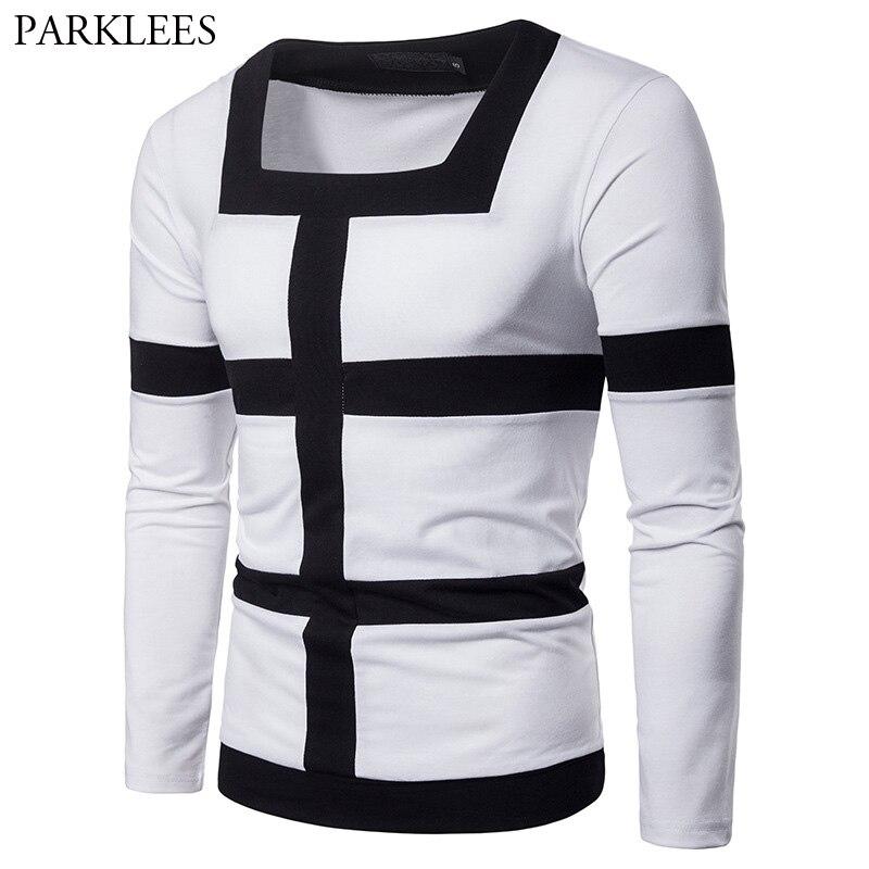 Fashion Square Collar Design Long Sleeve   T  -  shirt   Men 2018 Autumn New Slim Fit Tee   Shirt   Homme Casual Brand Streetwear   T     Shirts