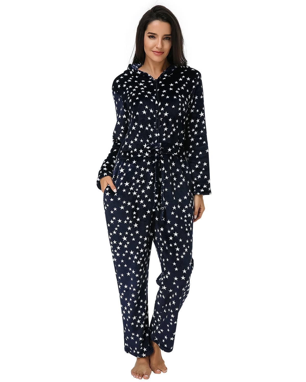 Casual Loose Rompers   Jumpsuit   Women 2019 Autumn Winter Star Print Long Sleeve Hooded Zipper Bodysuits Sleepwear Long Pajamas 3XL