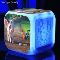 Very Cute Porket Pig And Big Rooster Alarm Clocks Glowing LED Color Change Multifunctio Alarm Clock
