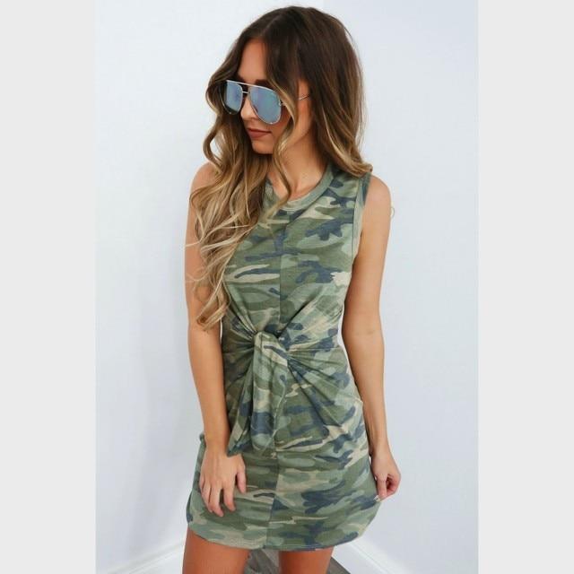 fb8a84171a5a Zmvkgsoa Sexy Sleeveless Camouflage Summer Dress Pencil Women Printed Tie  Bodycon Dresses Ladies Camo Mini Vestidos Y10897
