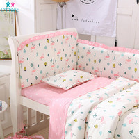 Soft Breathe Cotton Pink Flamingos Baby Crib Bumper Infant Bed Cot Bumpers Bed Protector Safe for Newborn Toddler Bedding 6Pcs