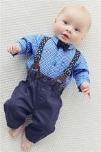 Détail 2016 automne bébé garçon vêtements bébé vêtements gentleman Style bow tie + chemise à carreaux + Bib bébé salopette Set