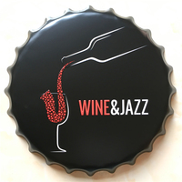 WINE&JAZZ Large Beer Cover Tin Sign Logo Plaque Vintage Metal Painting Wall Sticker Iron Sign Bar KTV Store Decorative 40X40 CM