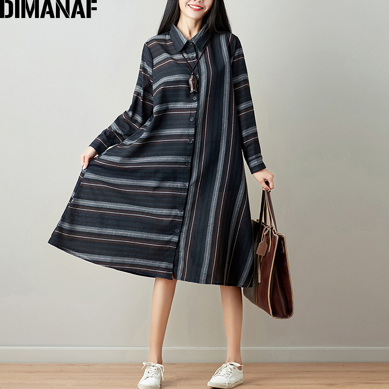 DIMANAF Women Blouse Long Sleeve Shirt Linen Autumn Plus Size Femme Striped Print Office Lady Basic Clothing Loose Cardigan 2018 3