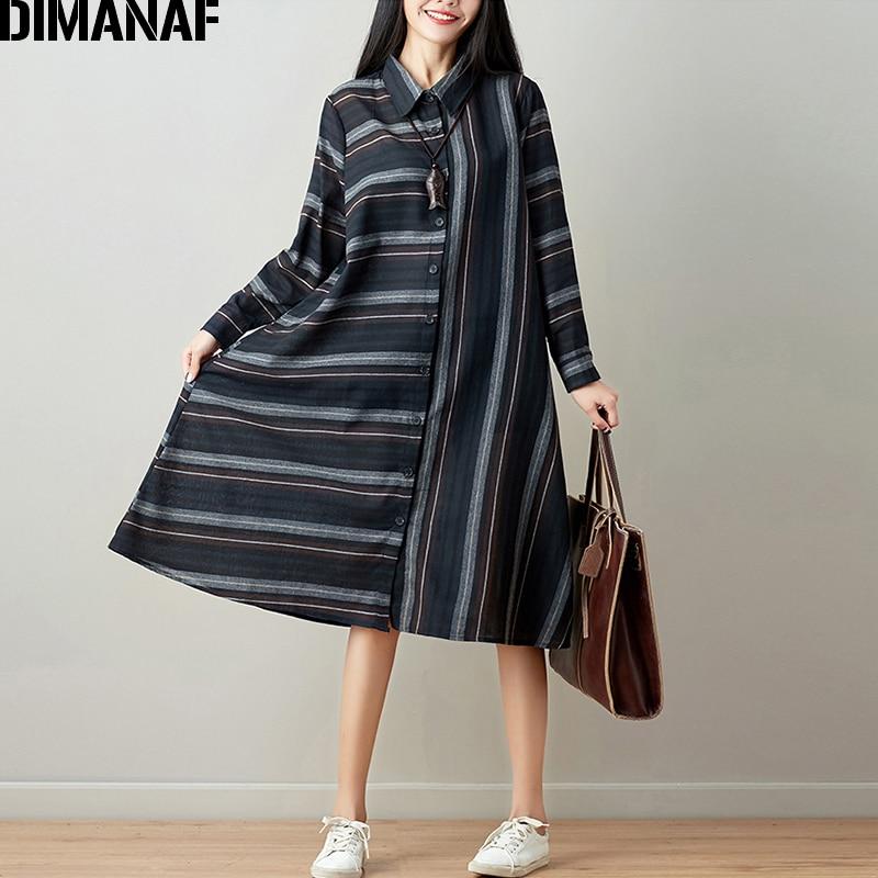 DIMANAF Women Blouse Long Sleeve Shirt Linen Autumn Plus Size Femme Striped Print Office Lady Basic Clothing Loose Cardigan 2018 3