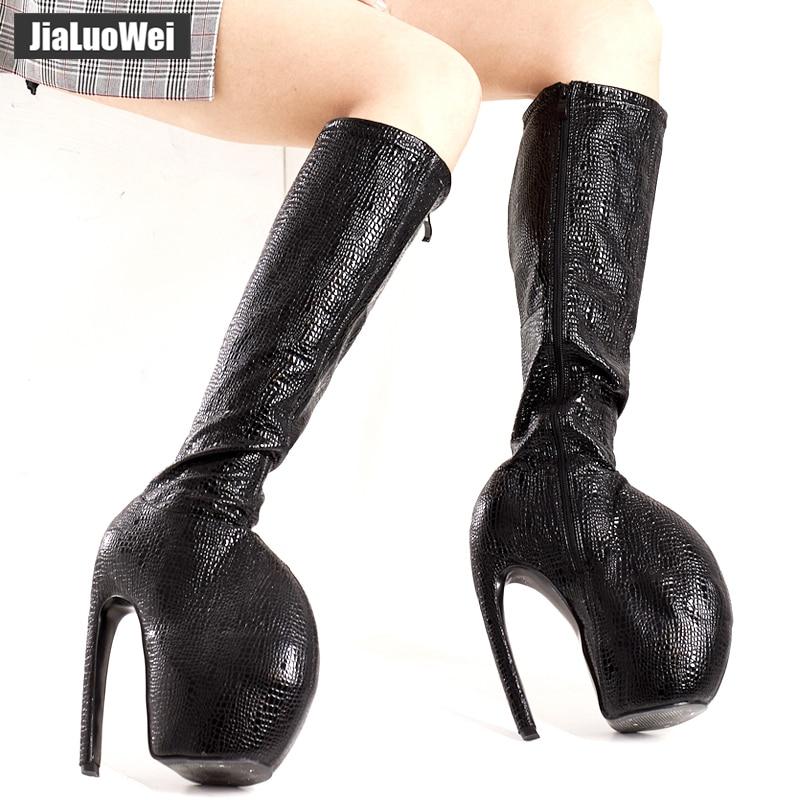 jialuowei 2019 Sexy 18CM Super High Heel Platform Knee High Boots Strange Style thin Heels Women