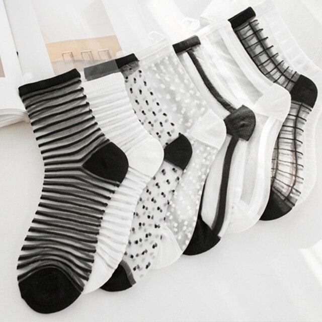Сексуальные кружевные сетчатые ажурные носки смешанные волокна прозрачные эластичные лодыжки Чистая Пряжа тонкие женские крутые носки 1 пара = 2 шт. ws403