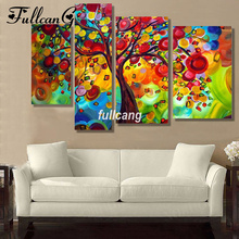 FULLCANG Apple Tree 4pcs Diamond Painting Cross Stitch Embroidery Diy 5D Square Mosaic F1065