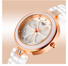 Porsini genuino de oro rosa de cerámica ultra-delgado de moda casual relojes de diamantes de la moda a prueba de agua. BO1106