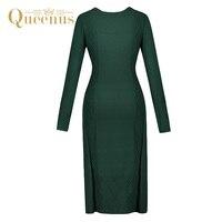 Queenus الخريف الشتاء النساء سترة اللباس جولة الرقبة كم طويل أنيق سهل الأخضر المرأة السترة واحد حجم فساتين التريكو
