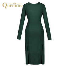 Queenus Autumn Winter Women Sweater Dress Round Neck Long Sleeve Elegant Plain Green Women Pullover One size Knitted Dresses