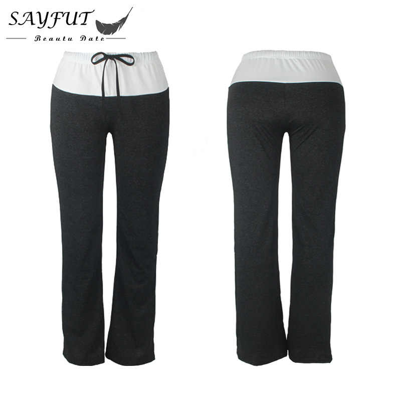 SAYFUT Moda Calças Das Mulheres Perna Larga Calças Leggings Aptidão para Esportes Soltas Calças de Treino Roupa Preta e Cinza