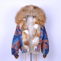 Fashion Real Raccoon Fur Collar Coat for Women Ladies Genuine Fox Fur Trim Down Jacket Detachable Fur Collar Down Parka Coat
